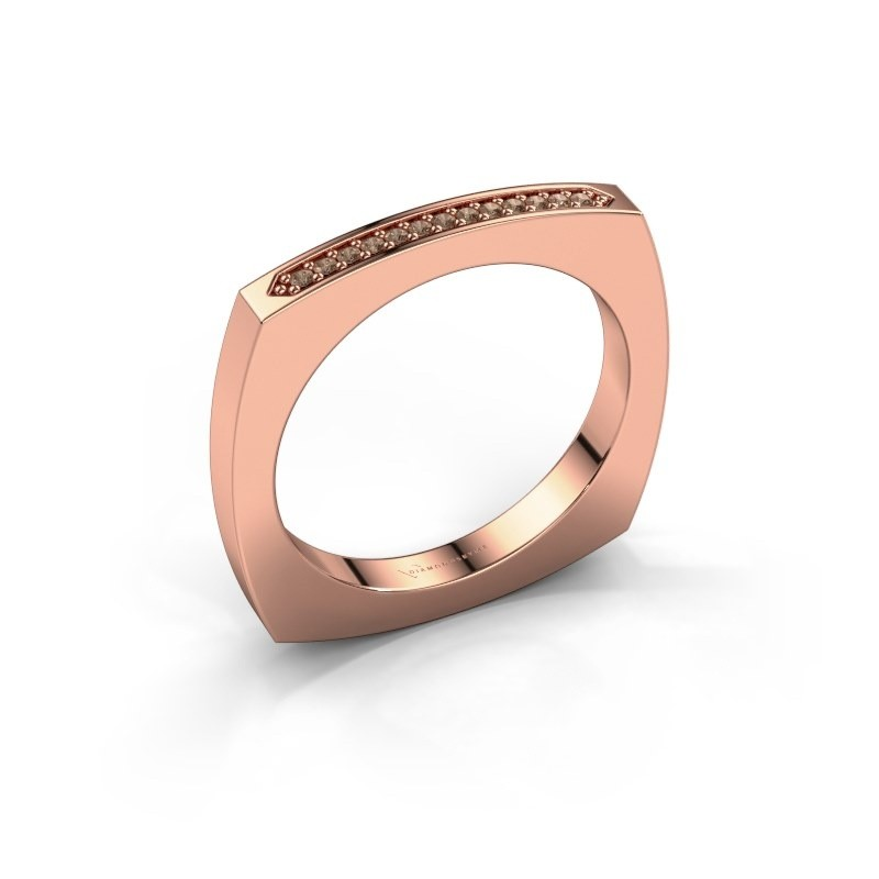 Stackable ring Ashley 375 rose gold brown diamond 0.065 crt
