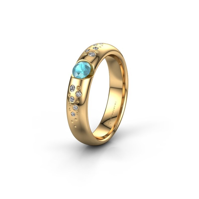 Trouwring WH2104L34A 375 goud blauw topaas ±4x1.7 mm