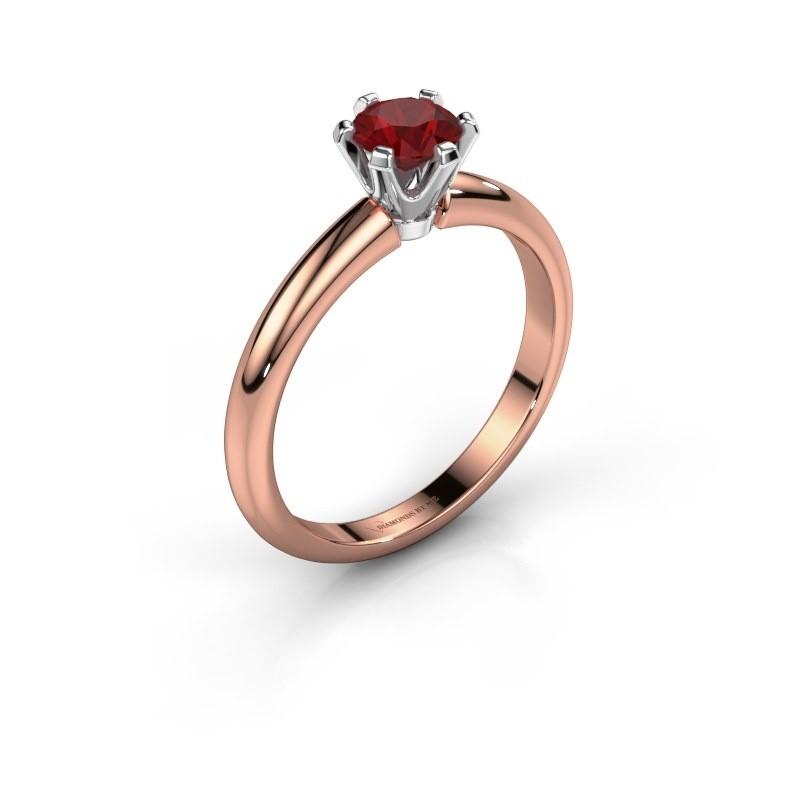 Verlovingsring Tiffy 1 585 rosé goud robijn 5 mm