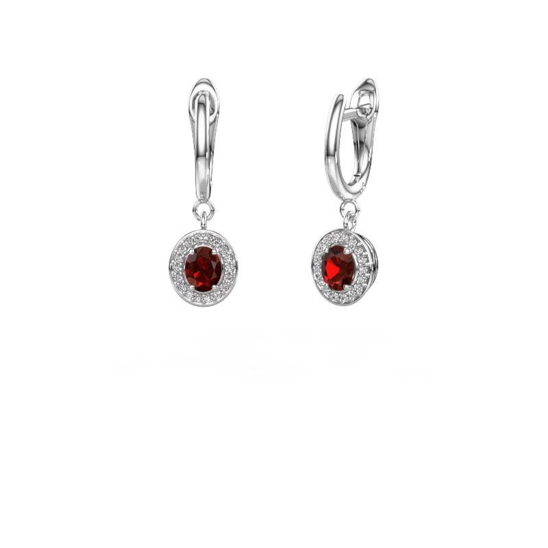Drop earrings Nakita 585 white gold garnet 5x4 mm