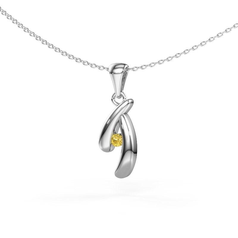 Hanger Jinke 925 zilver gele saffier 2.5 mm