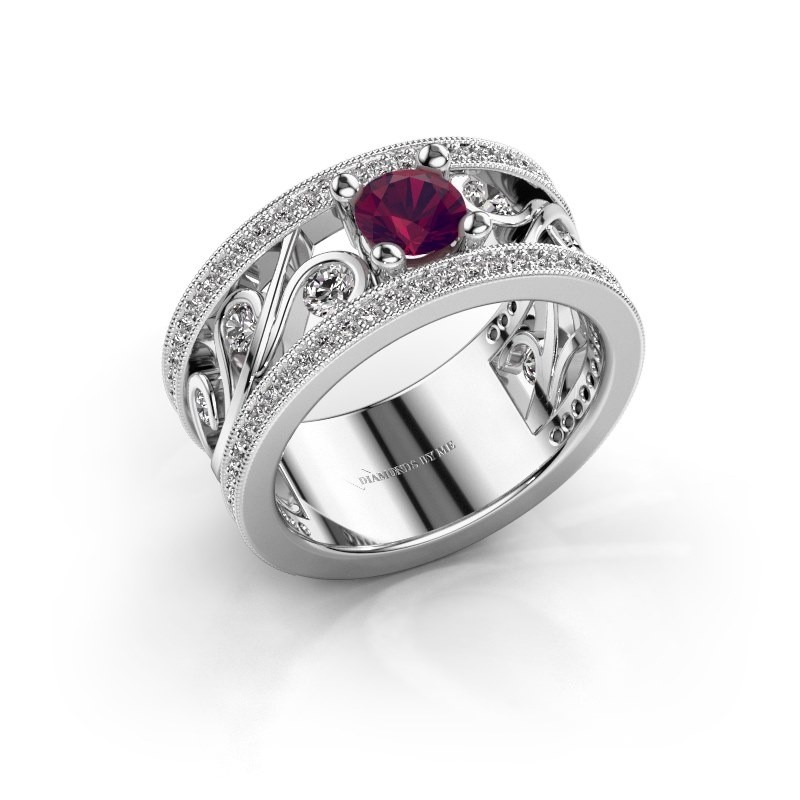 Ring Sanne 925 zilver rhodoliet 5 mm
