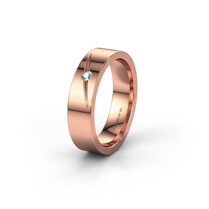 Wedding ring WH0170L15A 375 rose gold aquamarine ±0.20x0.07 in