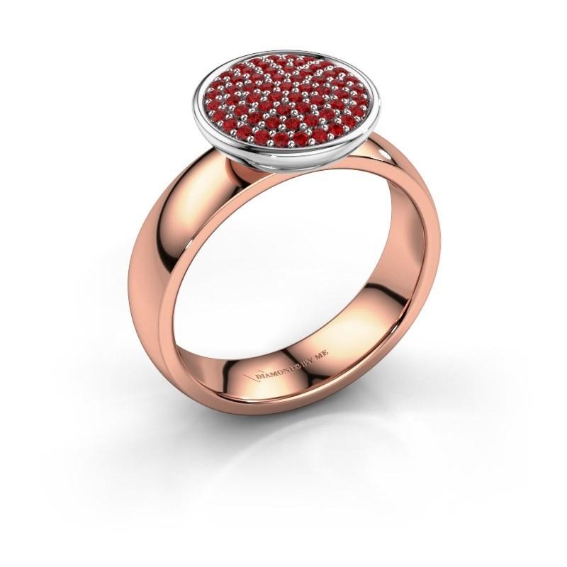 Ring Tilda 585 rosé goud robijn 1 mm