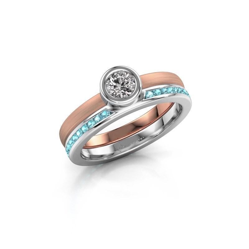 Ring Cara 585 rose gold blue topaz 4 mm