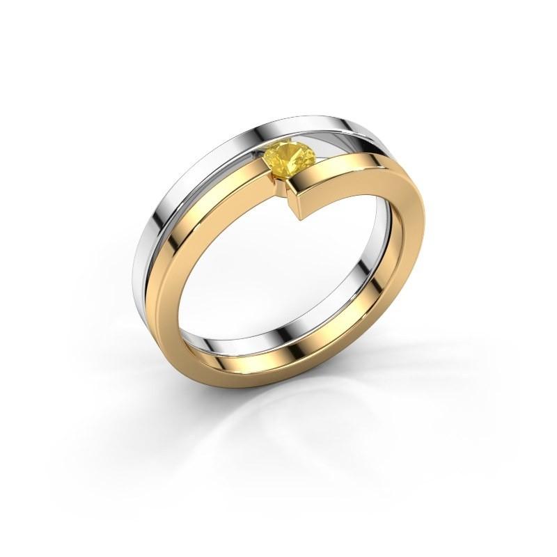 Ring Nikia 585 witgoud gele saffier 3.4 mm