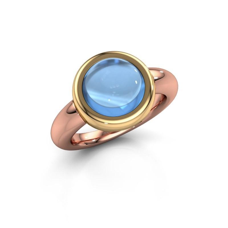 Ring Jenae 585 Roségold Blau Topas 10 mm