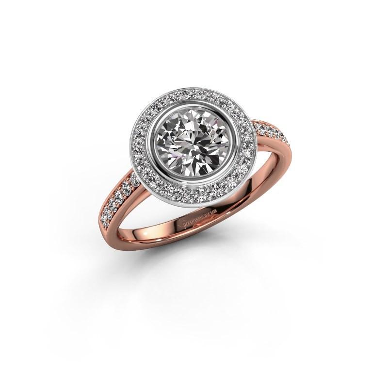 Verlovingsring Noud 2 RND 585 rosé goud diamant 1.344 crt
