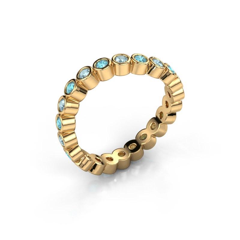 Ring Liz 585 goud blauw topaas 2 mm