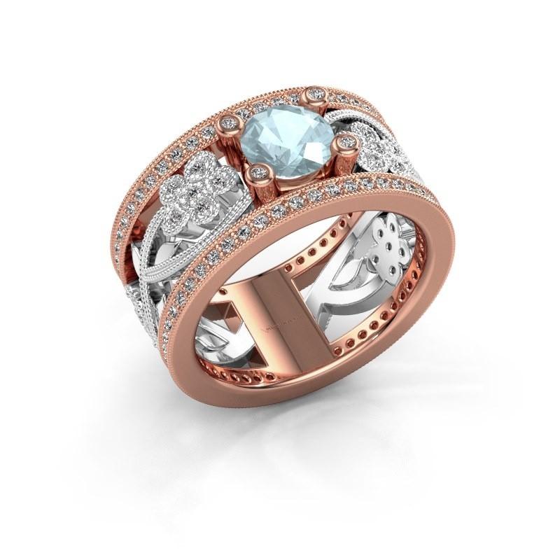 Ring Severine 585 rosé goud aquamarijn 6 mm