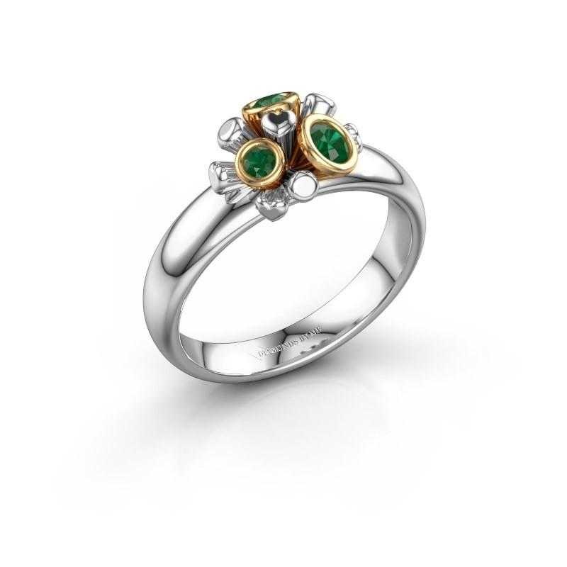 Ring Pameila 585 witgoud smaragd 2 mm