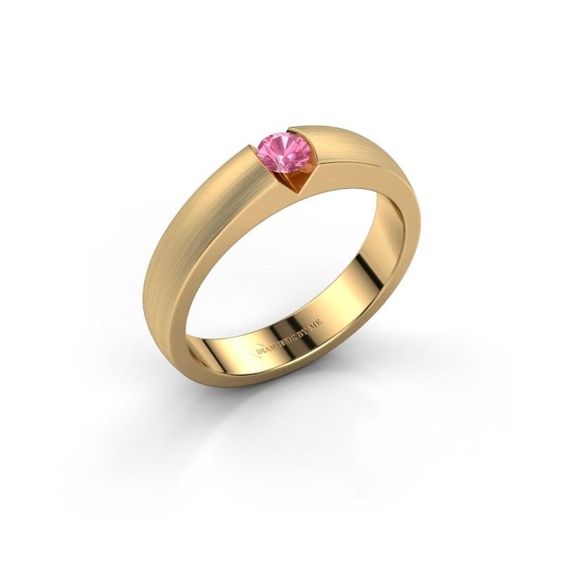 Verlovingsring Theresia 375 goud roze saffier 3.4 mm