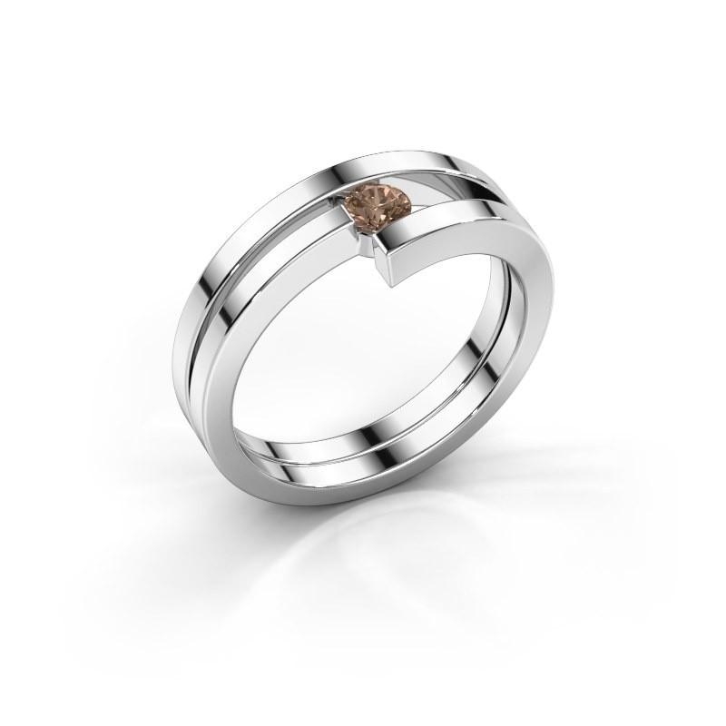 Ring Nikia 925 zilver bruine diamant 0.15 crt