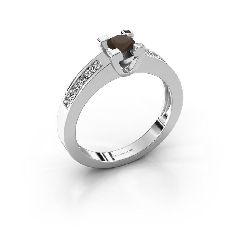 Aanzoeksring Anne 2 925 zilver rookkwarts 4.2 mm