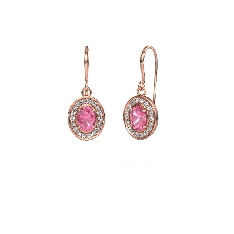 Drop earrings Layne 1 375 rose gold pink sapphire 6.5x4.5 mm