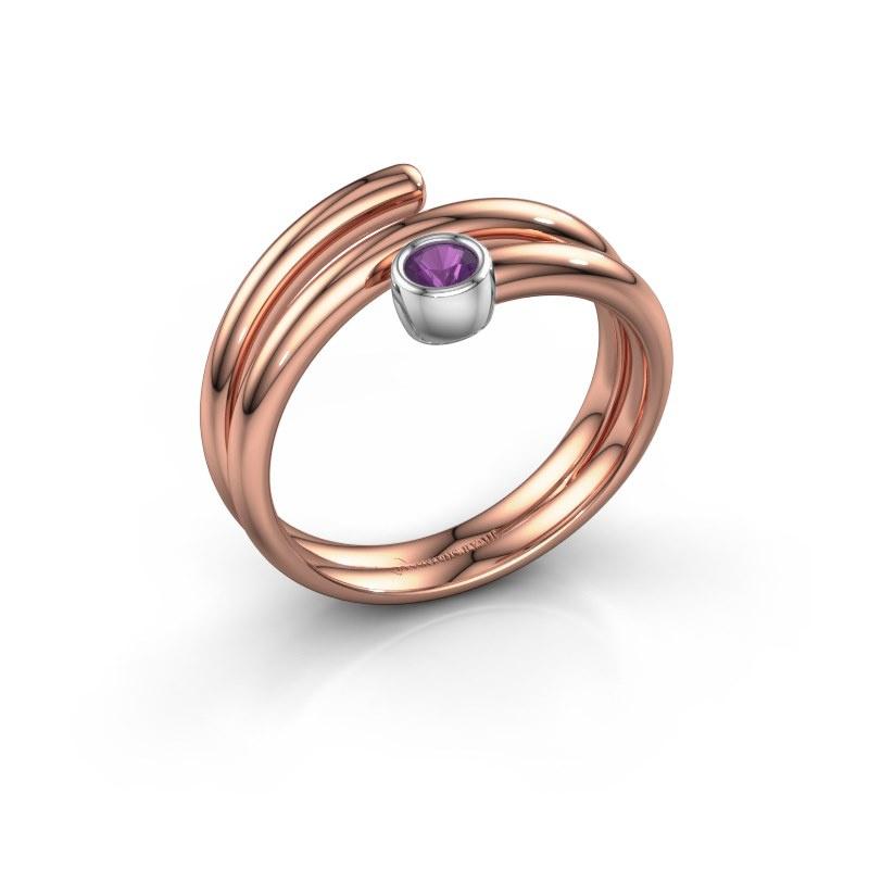 Ring Jenna 585 rosé goud amethist 3 mm