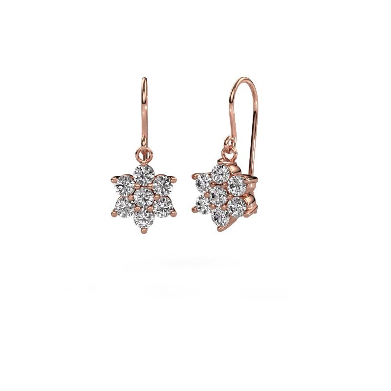 Oorhangers Dahlia 1 375 rosé goud diamant 0.28 crt
