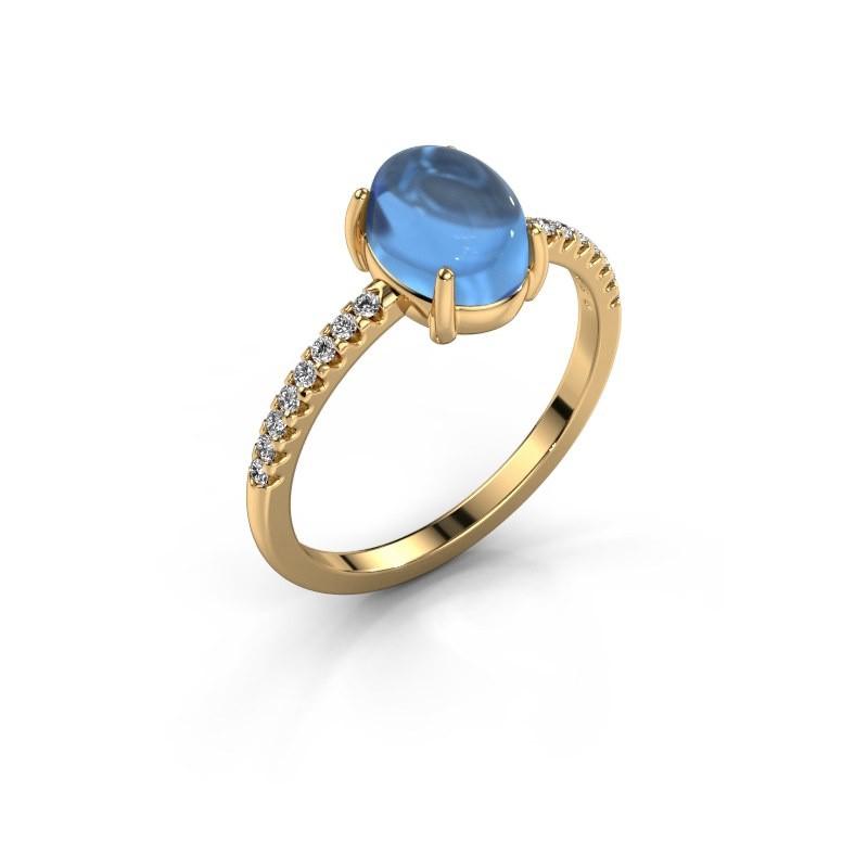 Bague Becky 585 or jaune topaze bleue 8x6 mm