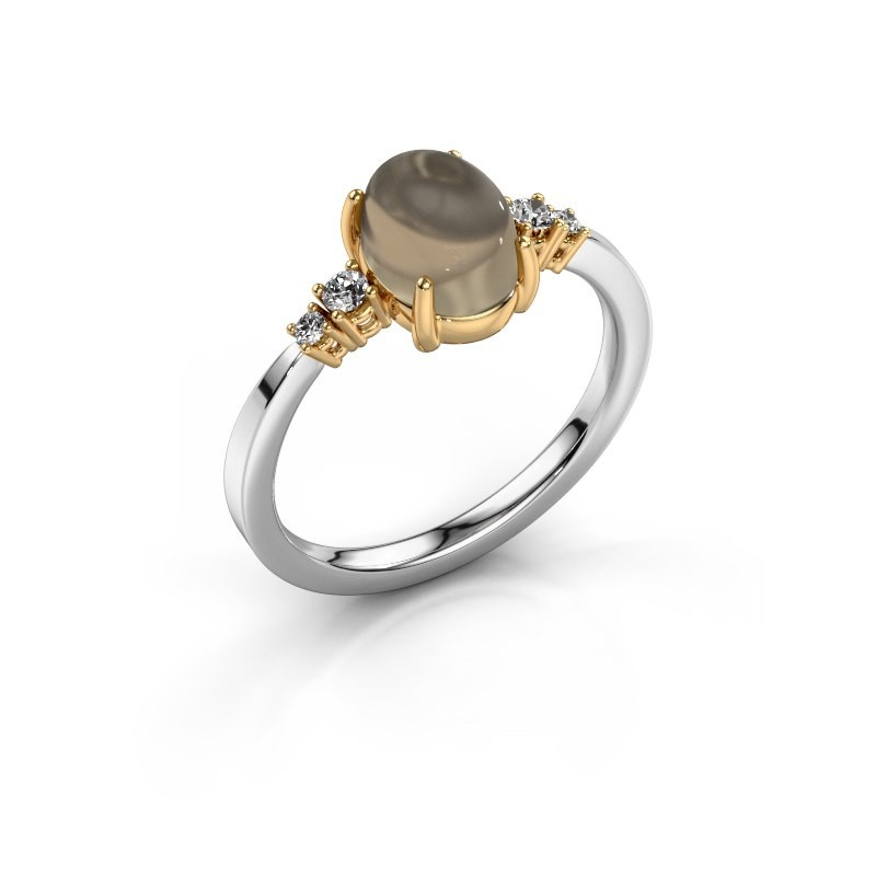 Ring Jelke 585 witgoud rookkwarts 8x6 mm