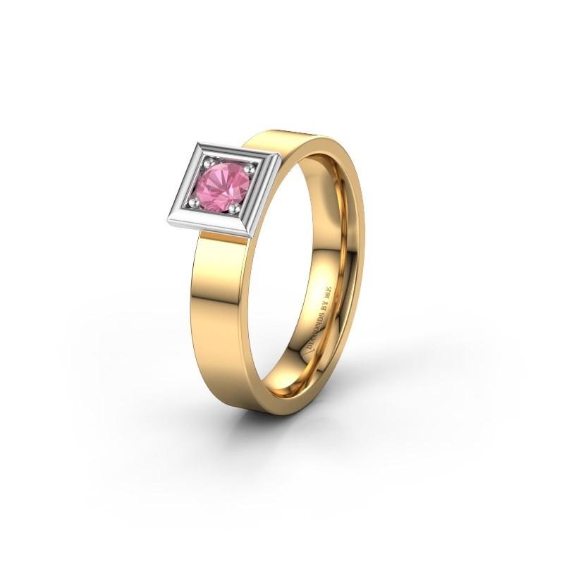 Trouwring WH2112L14A 585 goud roze saffier ±4x1.7 mm