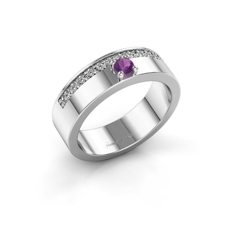 Ring Vicki 950 platina amethist 3 mm