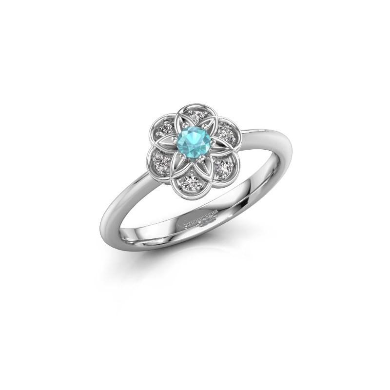 Engagement ring Uma 585 white gold blue topaz 3 mm