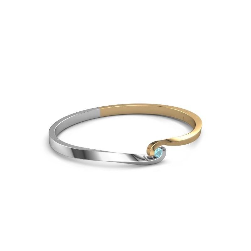 Bracelet jonc Sheryl 585 or jaune topaze bleue 3.7 mm