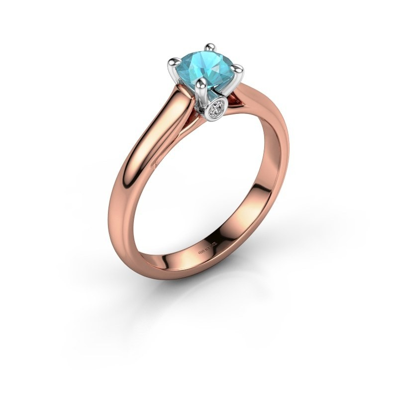 Verlovingsring Valorie 1 585 rosé goud blauw topaas 5 mm