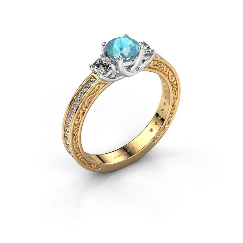 Verlovingsring Betty 2 585 goud blauw topaas 5 mm