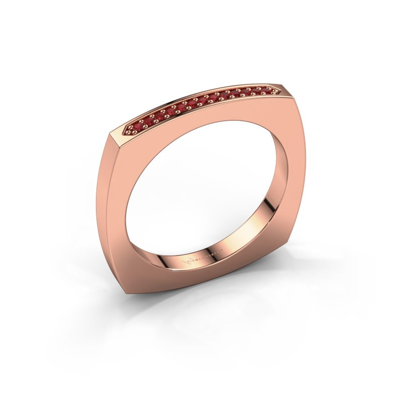 Bague superposable Ashley 585 or rose rubis 1 mm