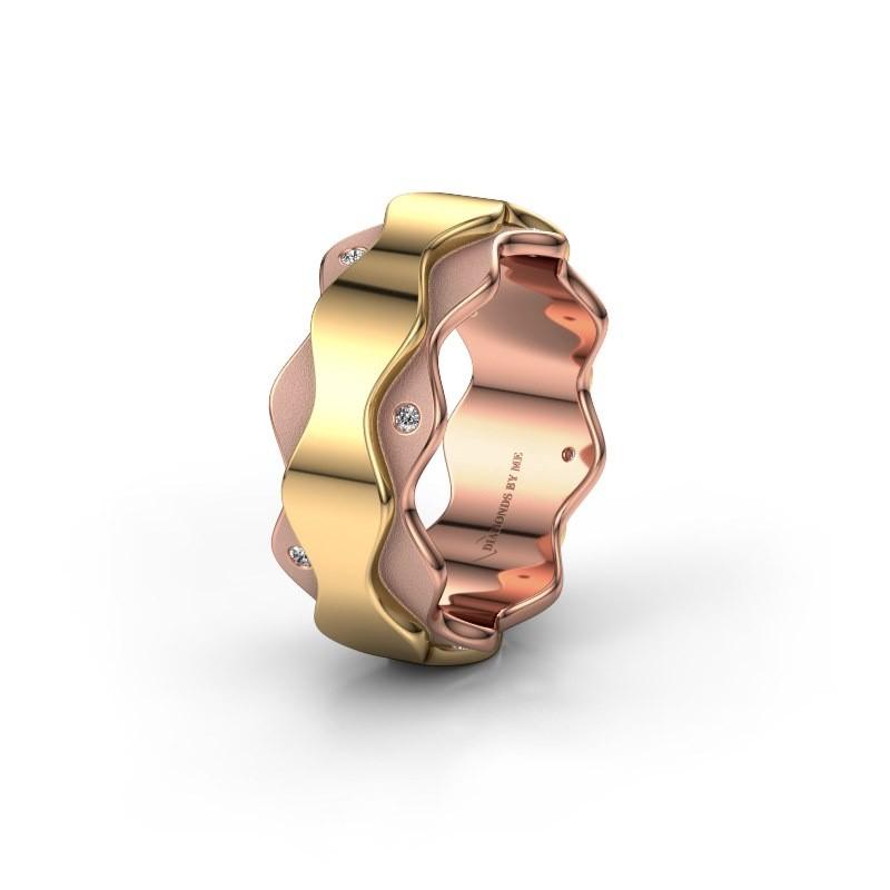 Trouwring WH2034P 585 rosé goud diamant ±7x2.4 mm