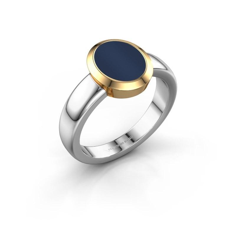 Zegelring Oscar 1 F 585 witgoud donker blauw lagensteen 10x8 mm