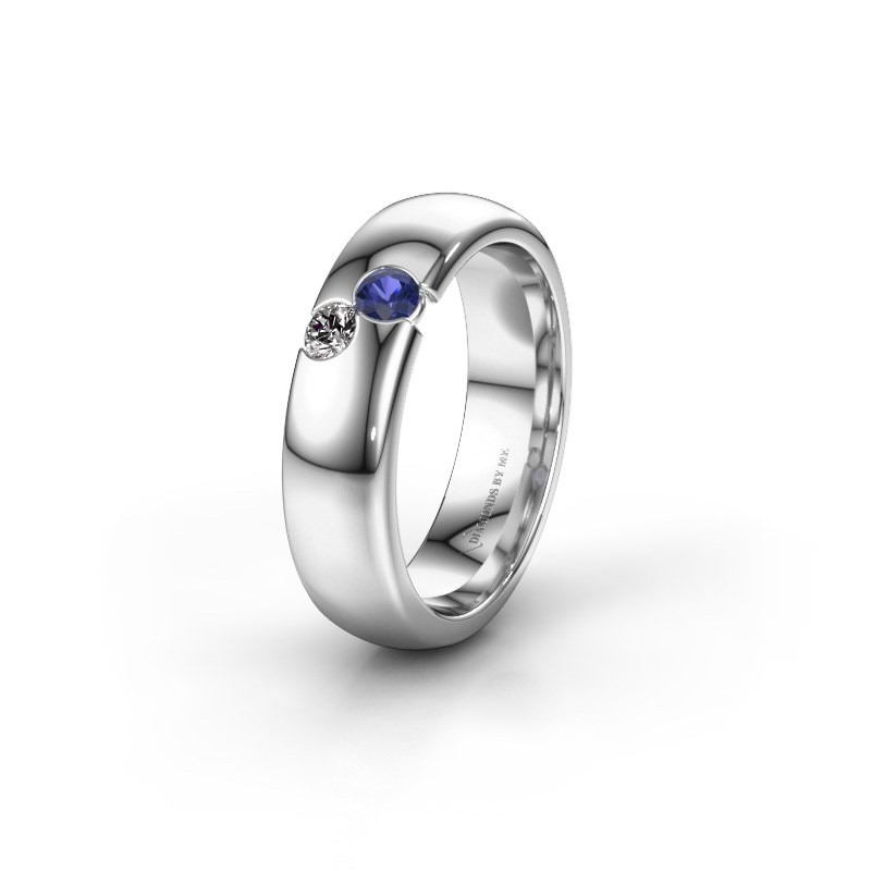 Wedding ring WH1003L26C 925 silver sapphire ±0.24x0.09in
