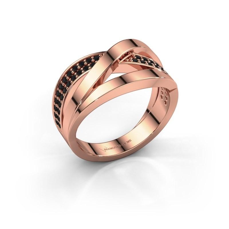 Ring Amira 375 rosé goud zwarte diamant 0.414 crt