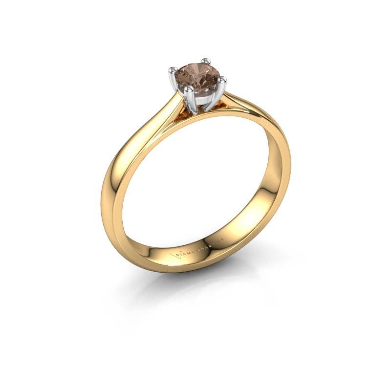 Engagement ring Sam 585 gold brown diamond 0.30 crt