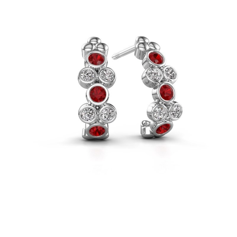 Earrings Kayleigh 925 silver ruby 2.4 mm