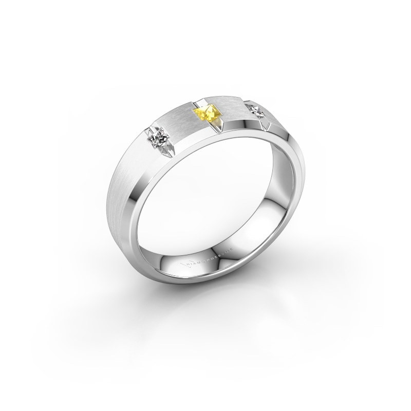 Männerring Justin 925 Silber Gelb Saphir 2.5 mm