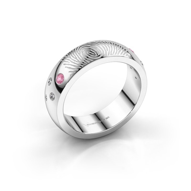 Ring Minke 375 witgoud roze saffier 2 mm
