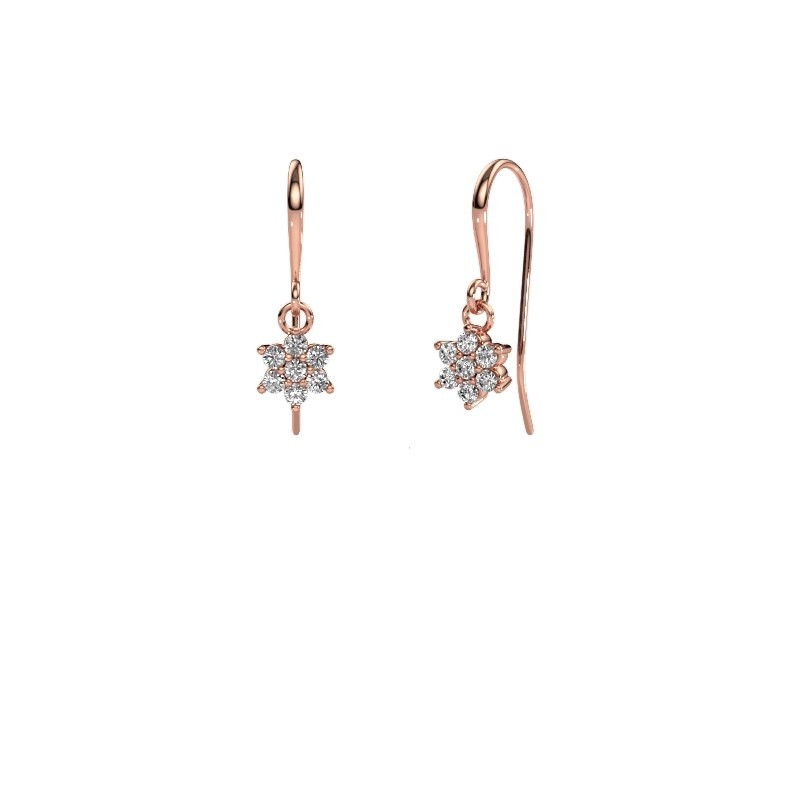 Drop earrings Dahlia 1 375 rose gold zirconia 1.7 mm