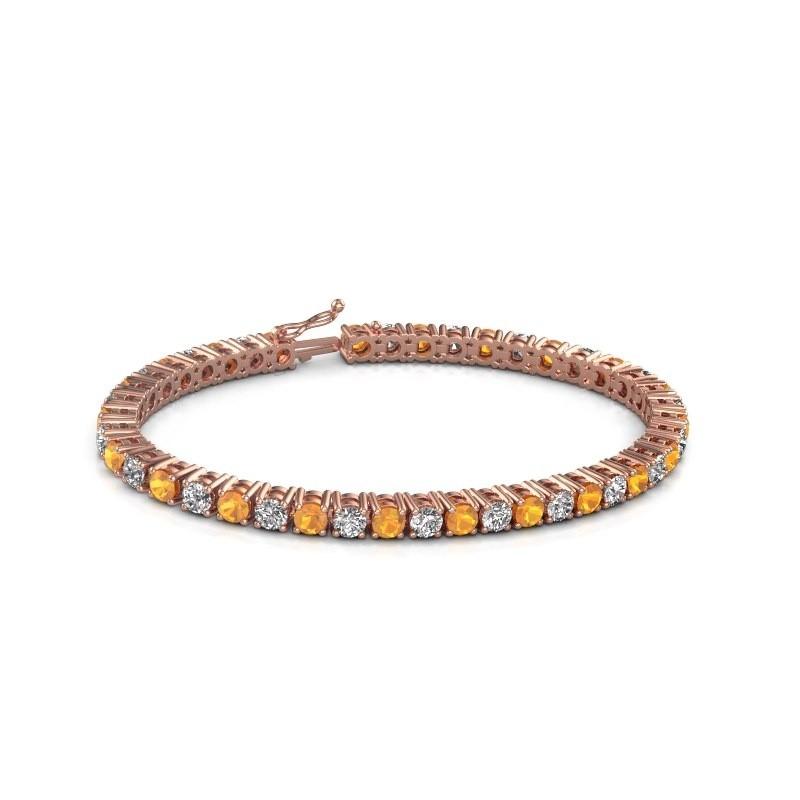 Tennis bracelet Karin 375 rose gold citrin 4 mm