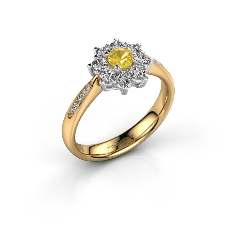 Verlovingsring Carolyn 2 585 goud gele saffier 3.4 mm