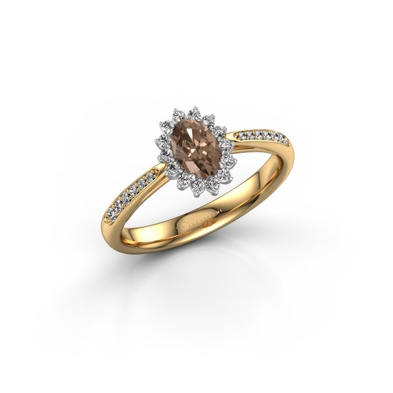 Engagement ring Tilly ovl 2 585 gold brown diamond 0.50 crt