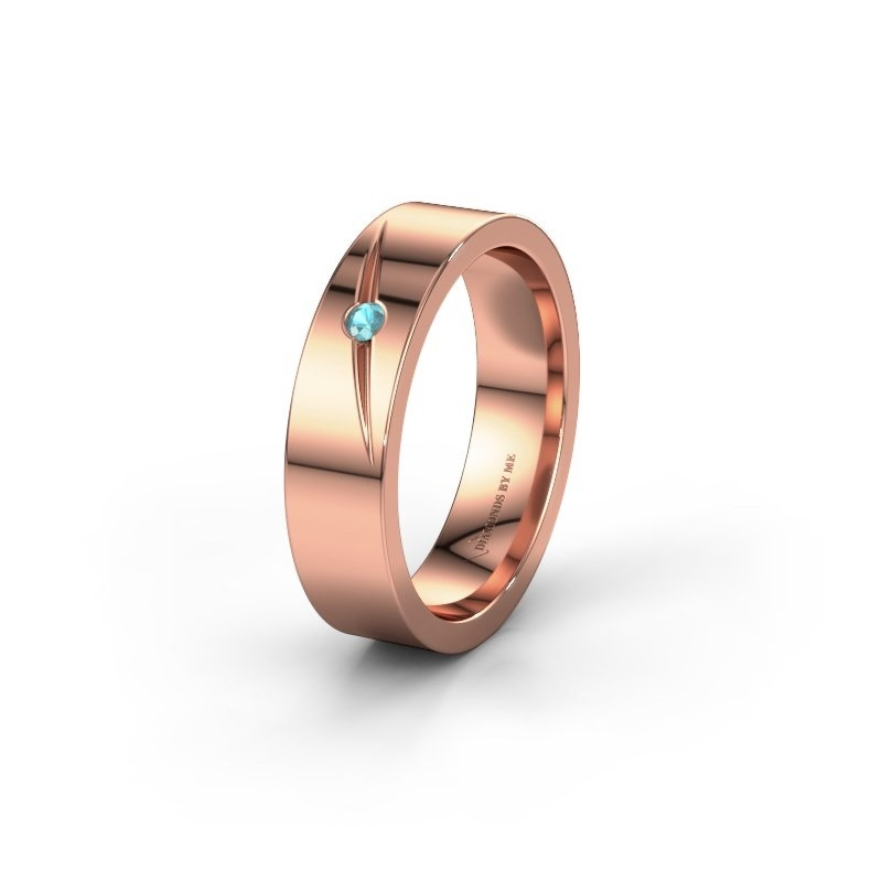 Wedding ring WH0170L15A 375 rose gold blue topaz ±0.20x0.07 in