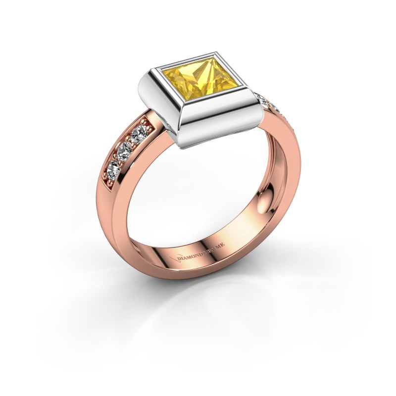 Ring Charlotte Square 585 rose gold yellow sapphire 5 mm