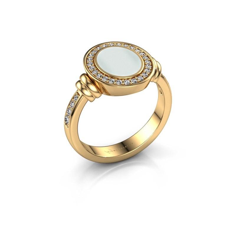 Signet ring Bailey 585 gold green sardonyx 10x8 mm