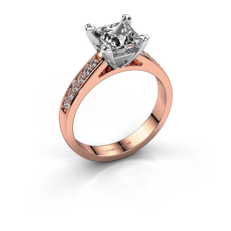 Engagement ring Nynke SQR 585 rose gold diamond 1.12 crt
