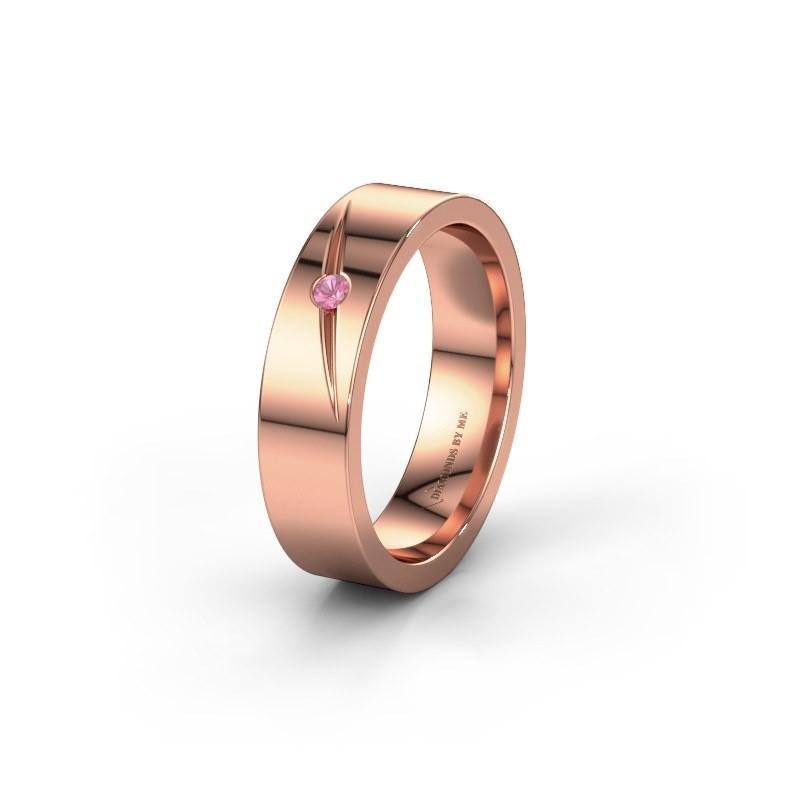 Trouwring WH0170L15A 375 rosé goud roze saffier ±5x1.7 mm