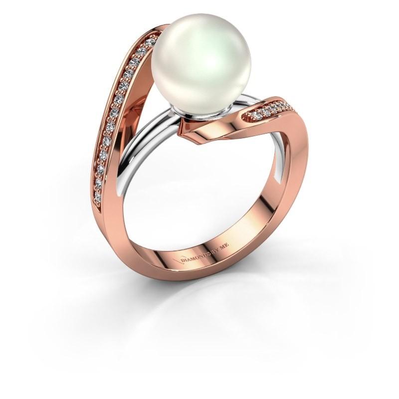 Ring Amber 585 rosé goud witte parel 9 mm