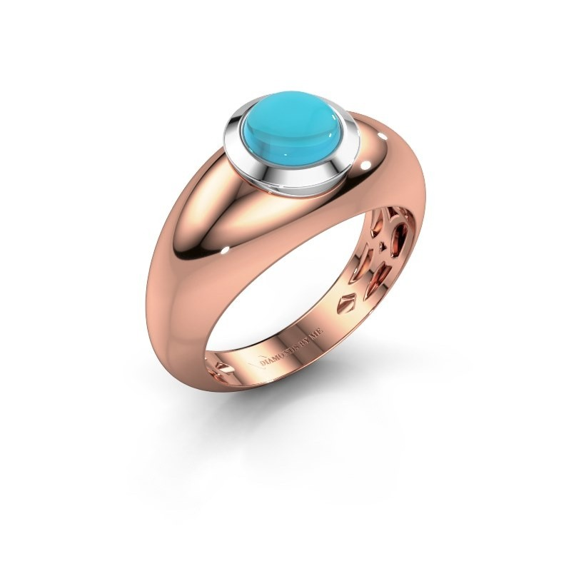 Ring Sharika 585 rosé goud blauw topaas 6 mm