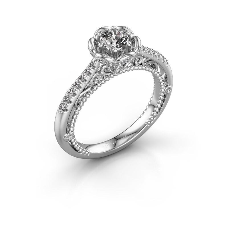 Aanzoeksring Abbey 585 witgoud diamant 0.582 crt